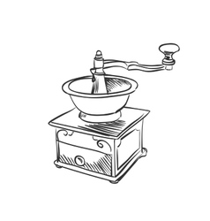 doodle coffee mill vector image