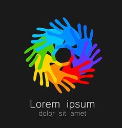 hand print logo template vector image