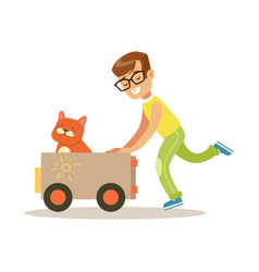 happy boy playing toy car with his red cat inside vector image vector image