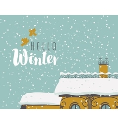 old house in snow vector image