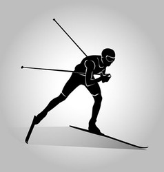 silhouette of cross-country skiing vector image