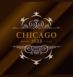 vintage gold hipster label with lettering chicago vector image