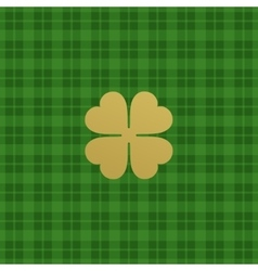 Green checkered pattern with clover leaf vector image vector image
