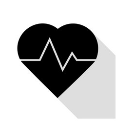 heartbeat sign black icon with flat vector image vector image
