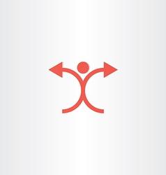 man with arrow hands icon vector image vector image