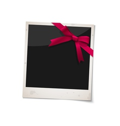 Polaroid photo frame with bow red ribbon vector image vector image
