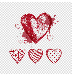 red doodle hearts on transparent background vector image vector image