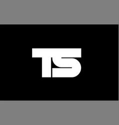 ts t s black white boldpink blue joint letter logo vector image vector image