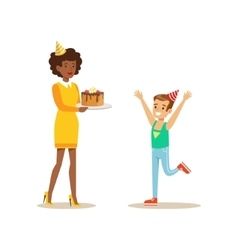 Woman Presenting A Cake To A Boy Kids Birthday vector image vector image
