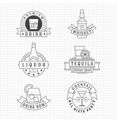 alcohol drinks thin line emblems on notebook page vector image vector image