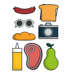 camera and food icons vector image