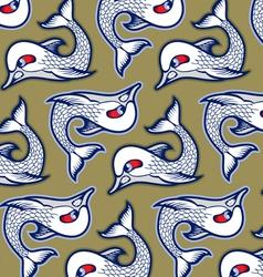 cartoon evil fish background pattern vector image vector image