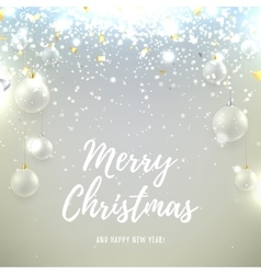Christmas background with glass balls and snow vector image vector image