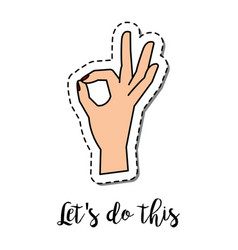 fashion patch element hand ok gesture vector image