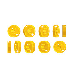 gold euro views cartoon style isolated vector image vector image