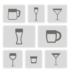 icons with different containers for drinks vector image