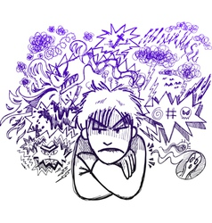 Very angry man doodle sketch vector image