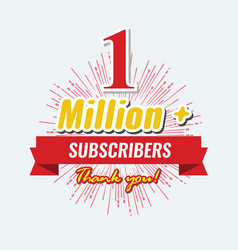1 million followers or subscribers achievement vector