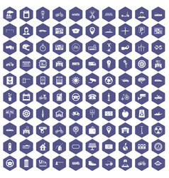 100 parking icons hexagon purple vector