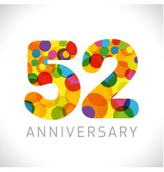 52 years anniversary circle colorful logo vector
