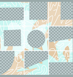 9 square puzzle layout templates for social media vector image