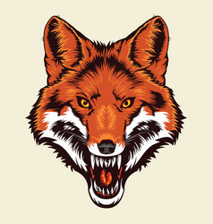 Angry fox head vector