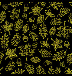 autumn leaves seamless background black vector image