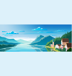 Beautiful scenery mountain lake and a houses on vector