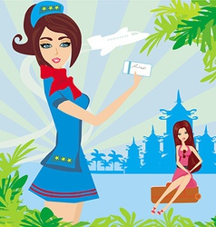 Beautiful stewardess with ticket Abstract card vector
