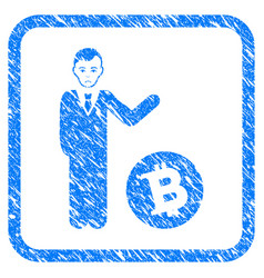 Bitcoin businessman framed stamp vector