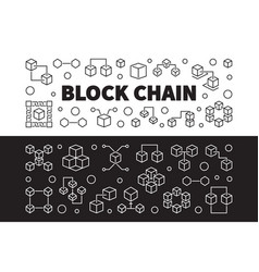 block chain cryptocurrency outline banners vector image