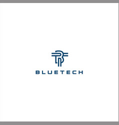 Blue tech logo template design vector