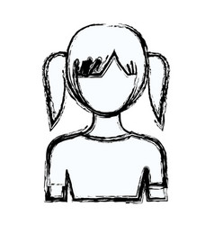 Blurred silhouette faceless half body girl with vector