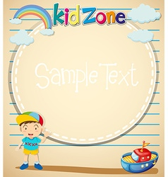 Border design with littile boy and toy vector
