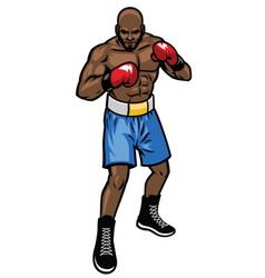 Boxing fighter stance vector