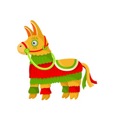 bright striped colorful mexican pinata symbol of vector image
