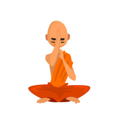 buddhist monk cartoon character sitting in lotus vector image