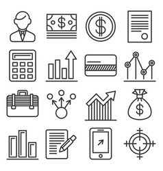 business money and management icons set line vector image