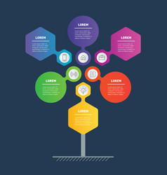Business presentation concept with 6 points or vector