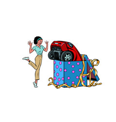Car holiday gift box african woman funny reaction vector