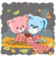 cat and dog in a scarf vector image