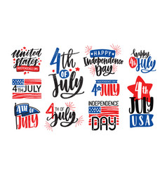 collection usa independence day lettering vector image