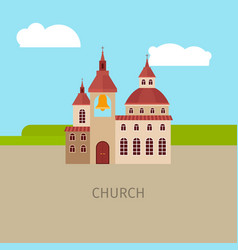 Colored church building vector