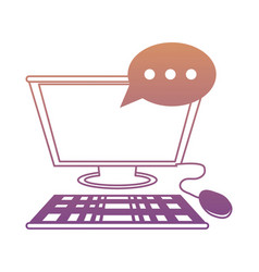 computer with speech bubble icon vector image