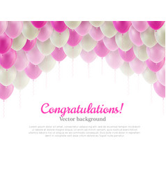 Congratulation card pink flying balls background vector