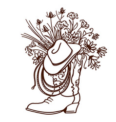 Cowboy boot with flowers isolated on a white vector