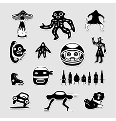 Crazy bizarre black and white stickers vector