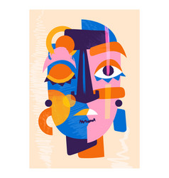 Cute colorful abstract face on pastel yellow vector