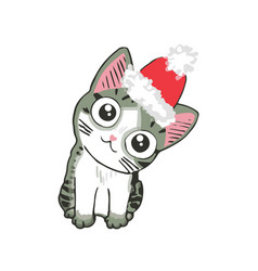 Cute kitten in a santa hat funny cat christmas vector