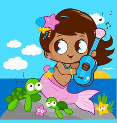 Cute mermaid sea vector